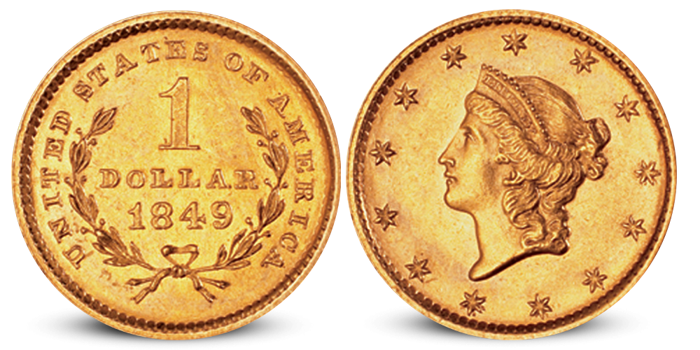 USA 1 dollar gullmynt 1849