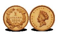 USA 1 dollar gullmynt 1854