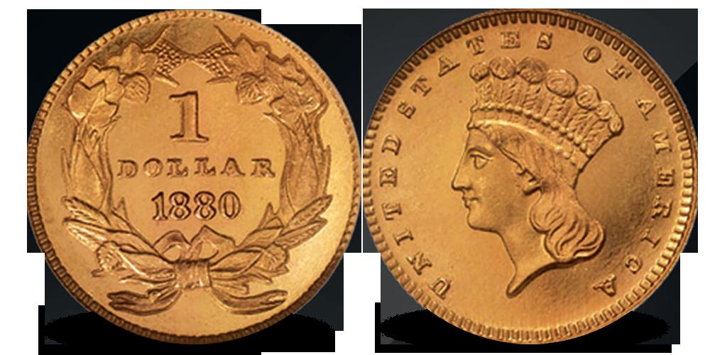 USA 1 dollar gullmynt 1880