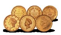 USA 1$ gull sett med 3 mynter 1849-1889