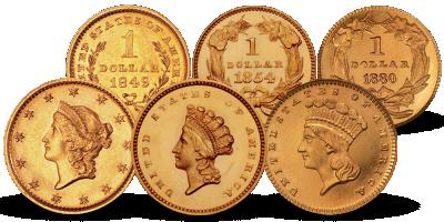 Komplett sett med historiske 1-dollar gullmynter