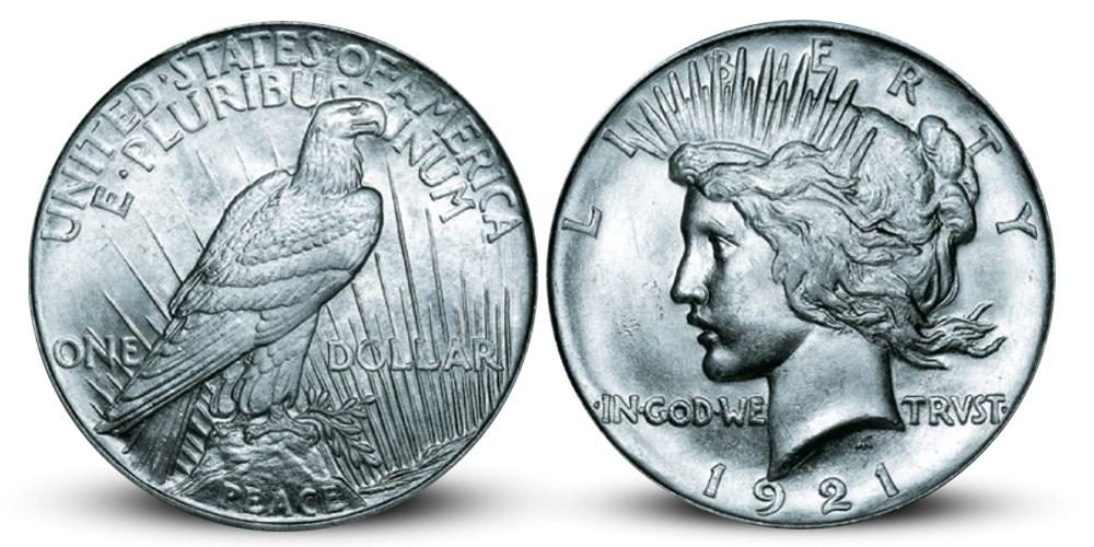 USA 1 $ Peace 1921 High Relieff