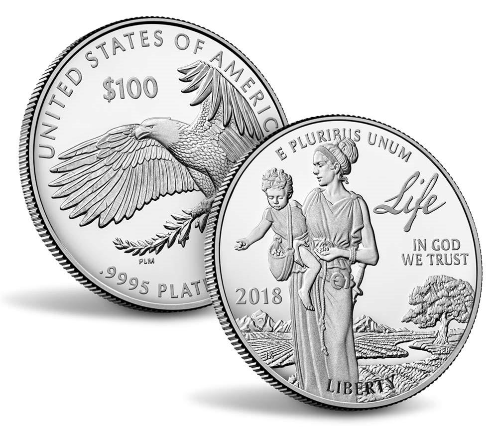 Ny 100$ American Eagle proof minnemynt «Life» i 99,95% platina