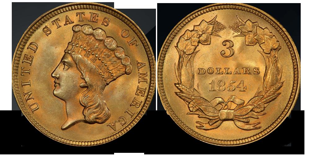 USAs eneste 3-dollar gullmynt