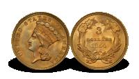 USA 3 dollar Indian Princess 1854 gullmynt