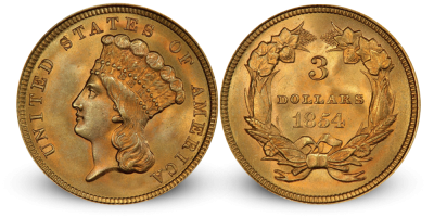USA 3$ Liberty Princess gull 1854-1889