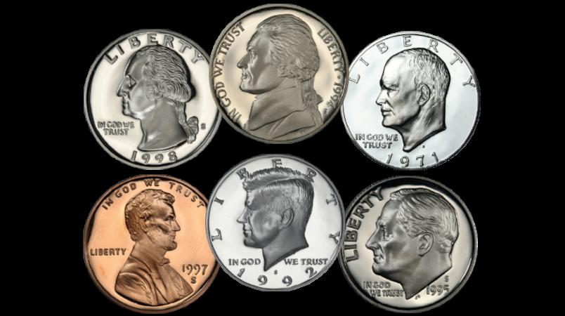De seks sirkulasjonsmyntene fra USA med presidentportrett