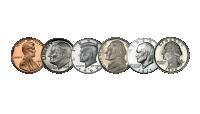 Seks amerikanske presidenter på sirkulasjonsmynter