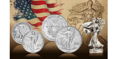 Walking Liberty halvdollar fra 1916 og Silver Eagle fra 1986