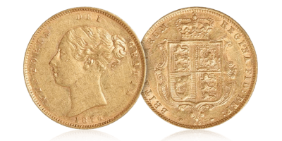 Dronning Victoria shield  - ½ sovereign 1838 – 1885