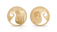 Mynt i gull med viking motiv
