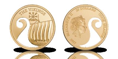 Vikingskipmynt i gull med laser-kuttet motiv