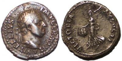 Sjelden Vitellius-denarius
