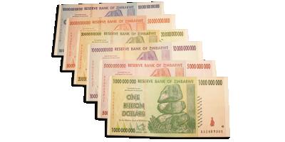 Zimbabwesett - 6 hyperinflasjonssedler fra Zimbabwe