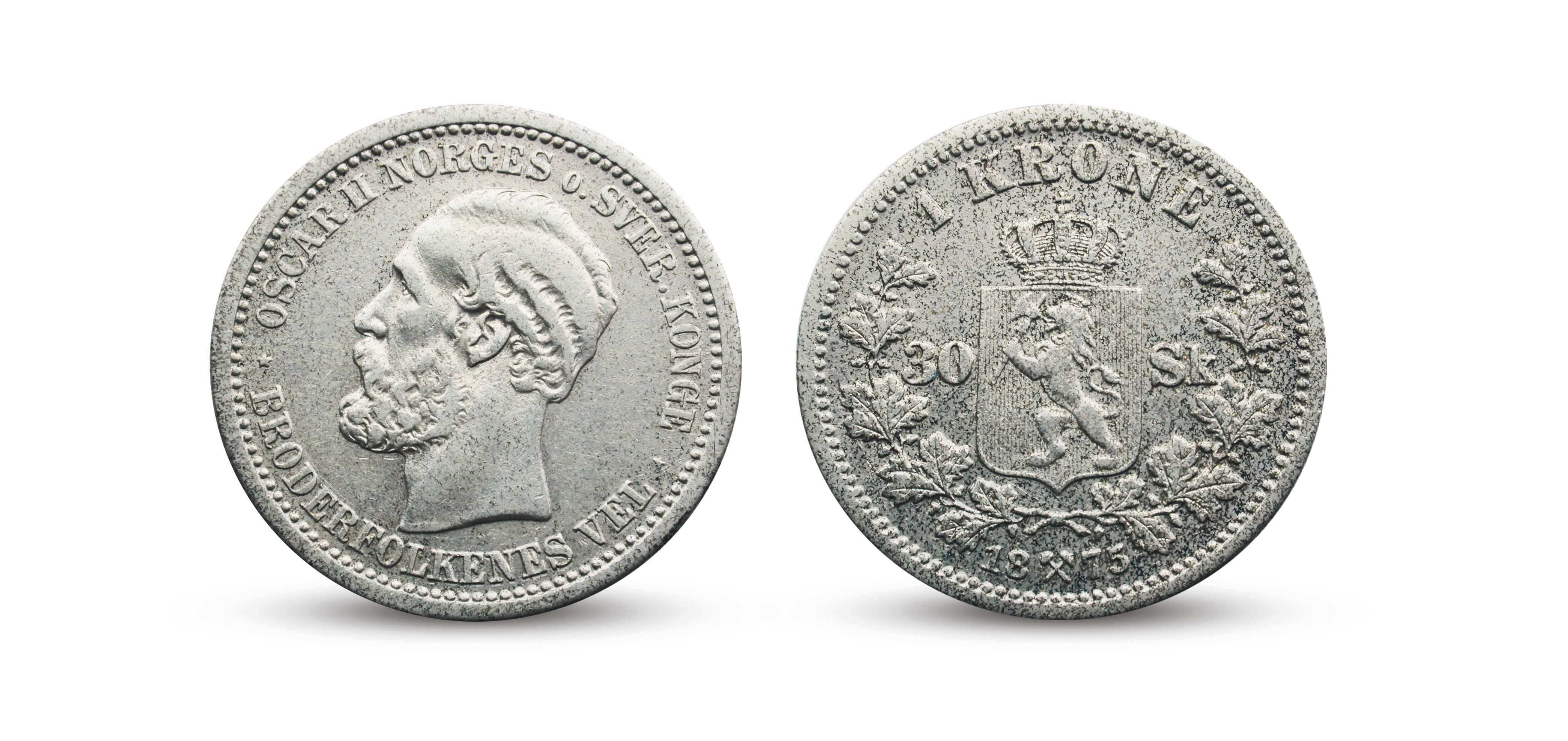 En krone med dobbeltvalør fra 1875