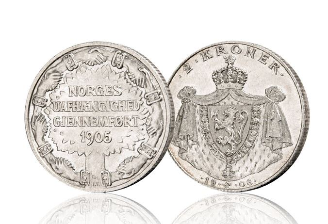 2 kroner 1906, til ære for unionsoppløsningen