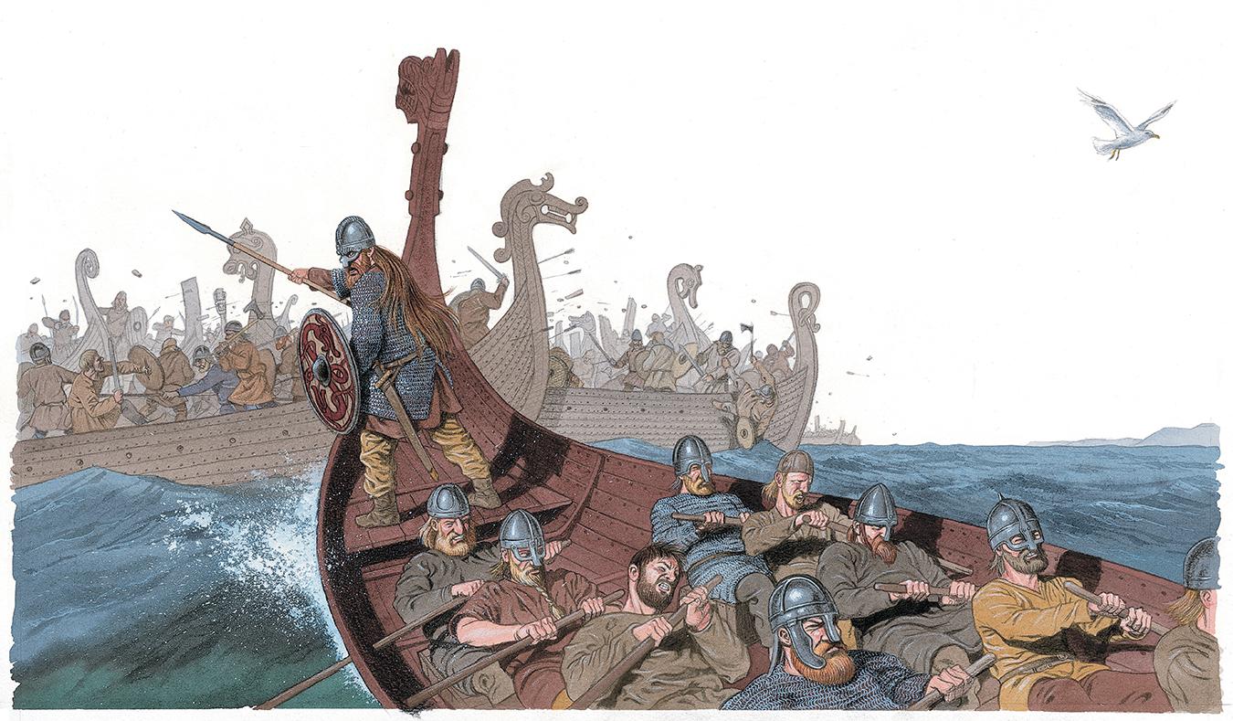 Harald Hårfagre under slaget i Hafrsfjord.