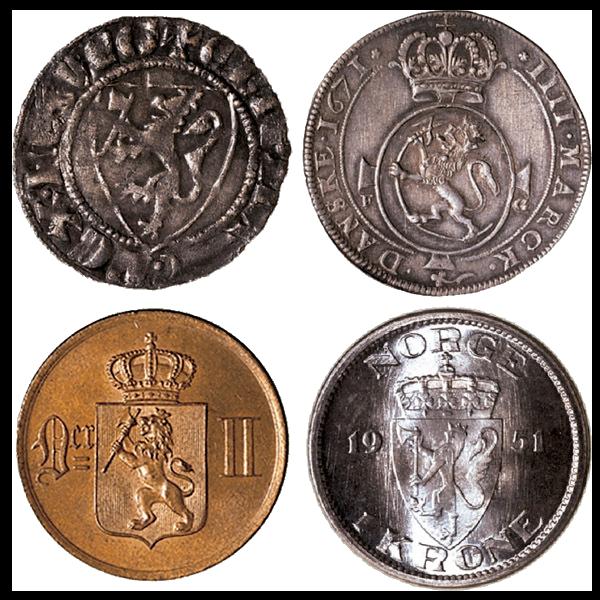 varianter av riksvåpenet på norske mynter fra middelalder, dansketid, unionstid og selvstendig tid