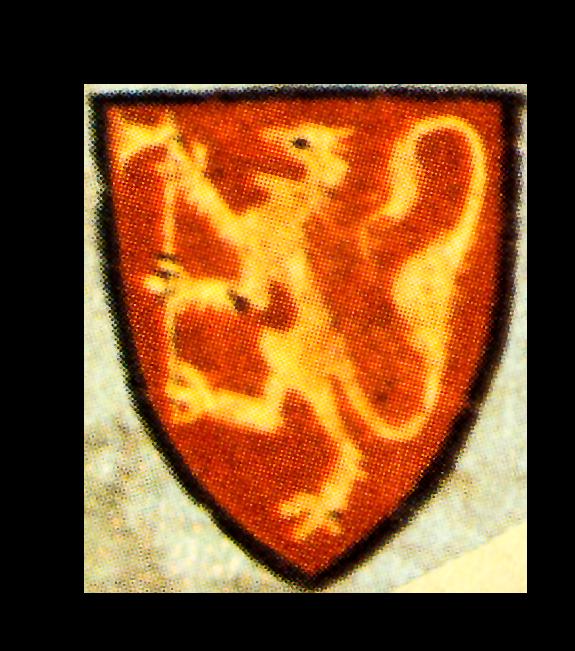 Det lille riksvåpenet fre en penning fra Eirik Magnusson, her fargelagt